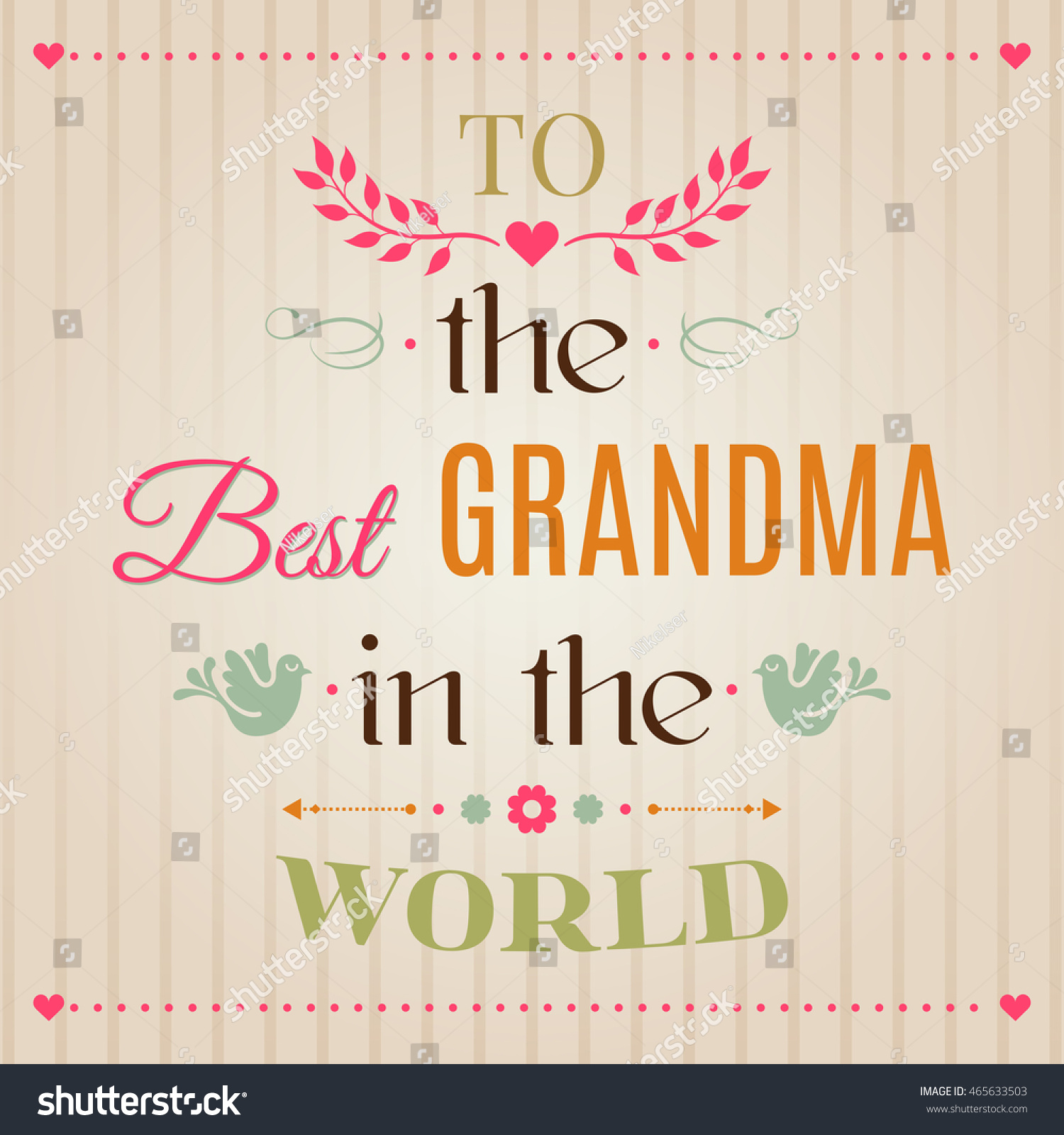 Vintage Happy Birthday Typographical Greeting Card To The Best Grandma In World Lettering