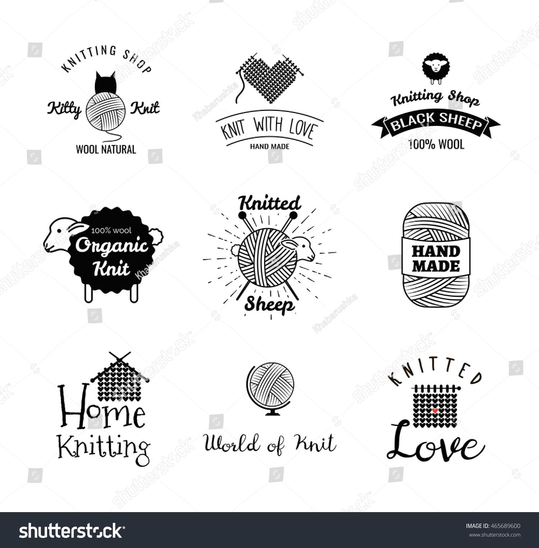 Knitting Logo Ideas : Knitting label set hand knit logo stock vector