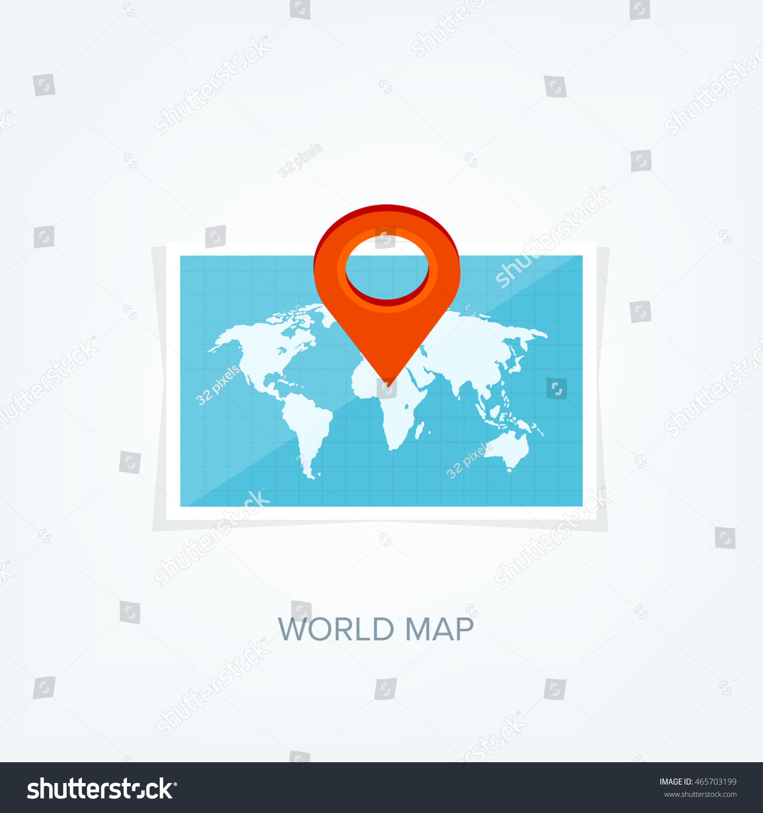 World Map Flat Style Earthglobe Route Planning Asia Africa North