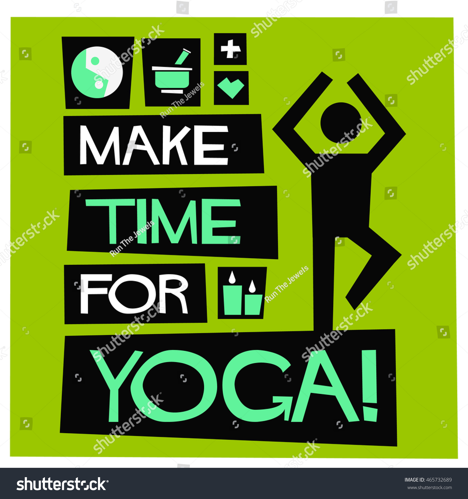 Poster design yoga - Make Time For Yoga Flat Style Vector Illustration Quote Poster Design