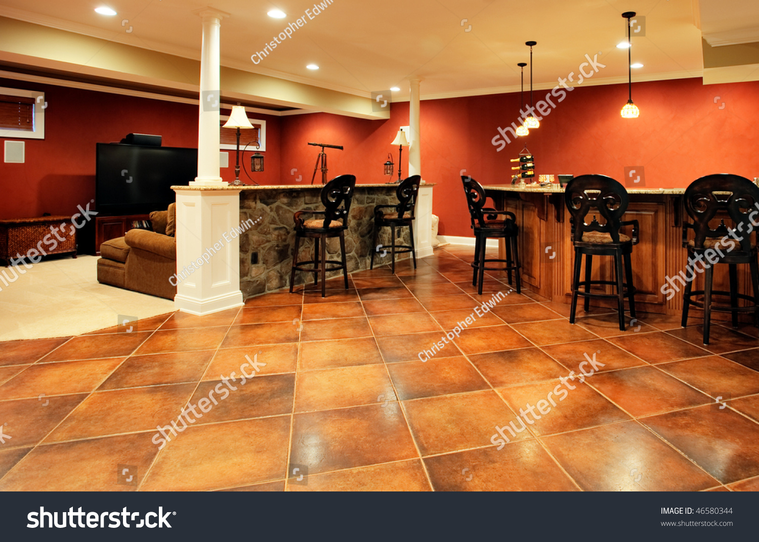 View Family Room Bar Home Theater Stock Photo (Edit Now) 46580344 ...