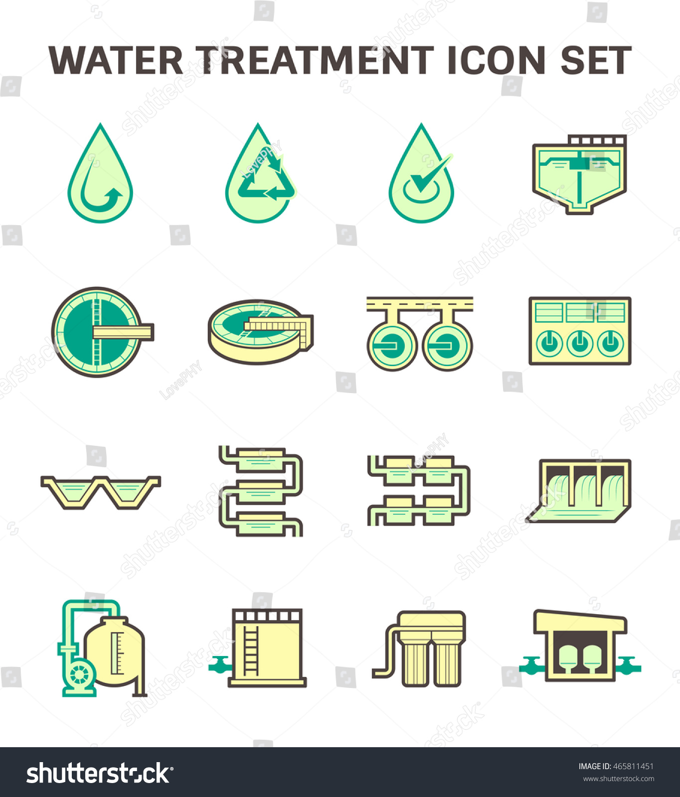 Water Treatment Plant Filter Vector Stock Royalty Free Piping Instrumentation Diagram And Icon Set Design