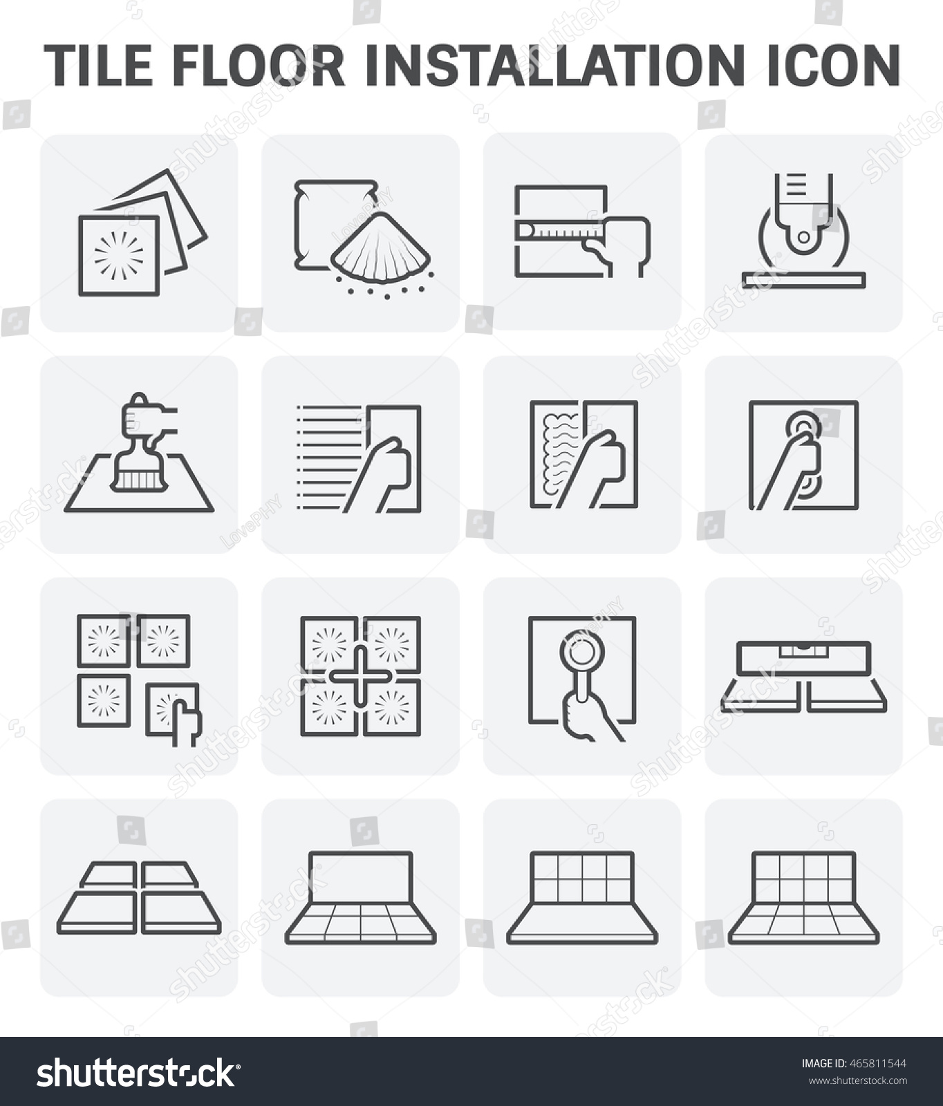 Icon Tile Work : Tile floor installation material vector icon stock