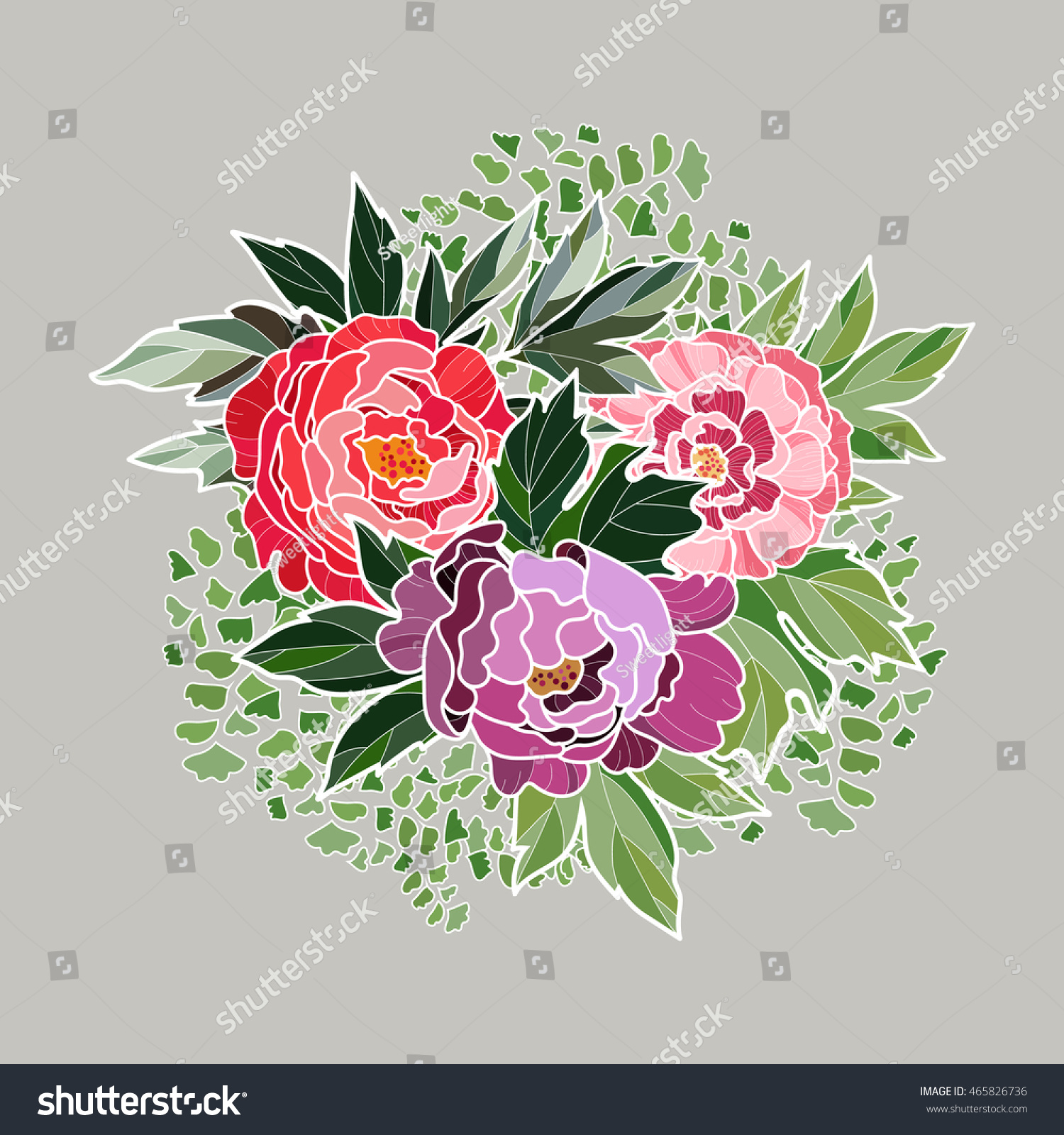 Round floral sticker hand drawn vector illustration floral design