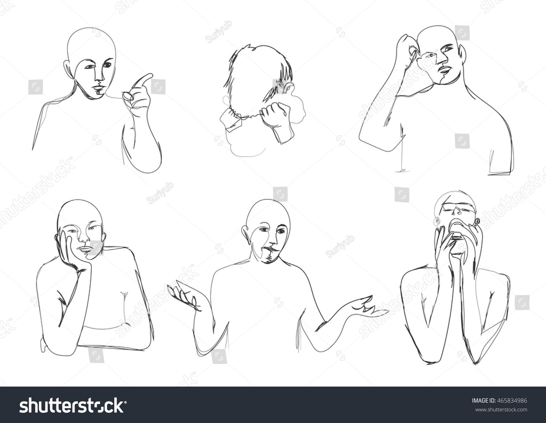 Contour Line Drawing Body : Human body language continuous line contour drawing