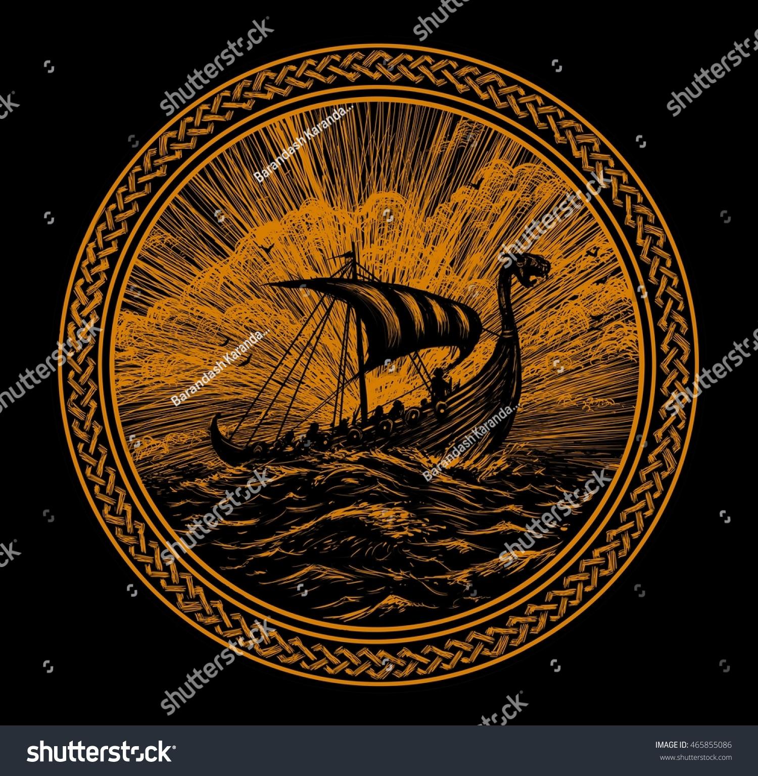 viking ship scandinavian ornament storm north stock illustration