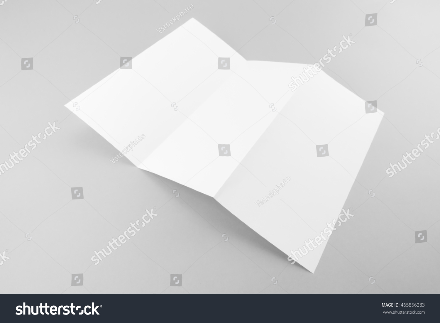 blank trifold white template paper soft stock photo