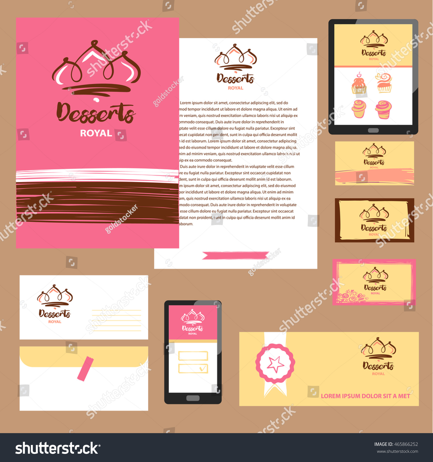 Royal Dessert Cake Sweet Shop Logo Stock Vector