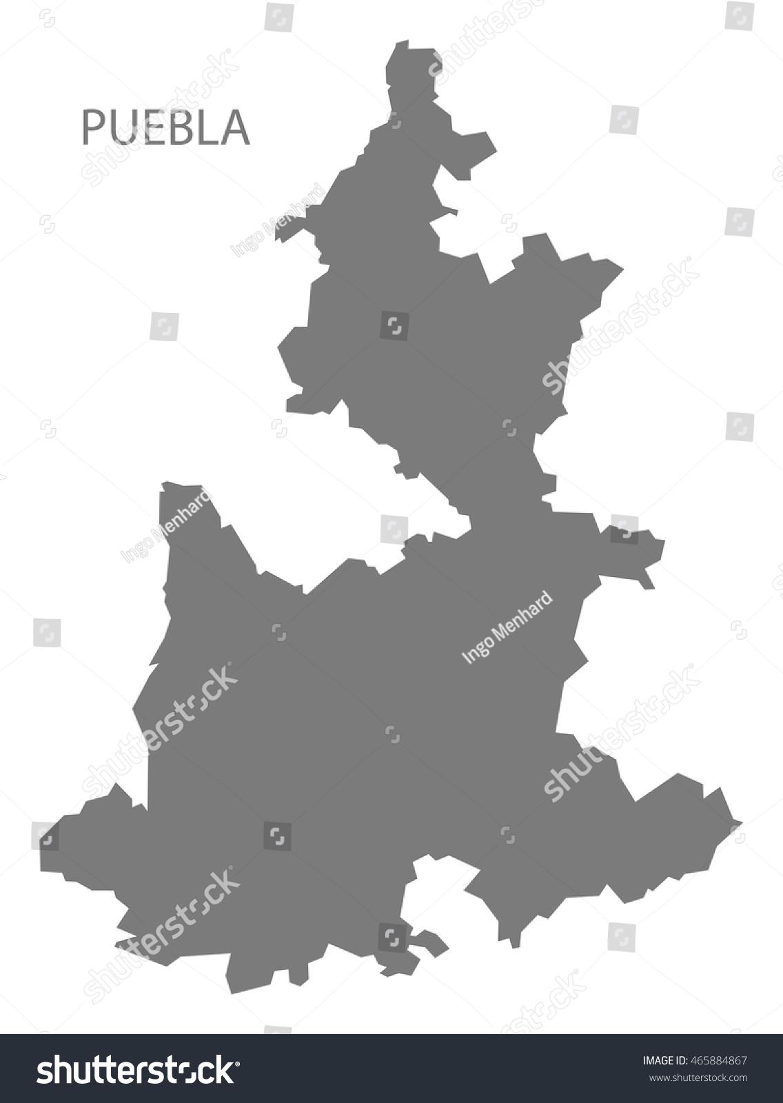 Puebla Mexico Map Grey Stock Vector Royalty Free 465884867