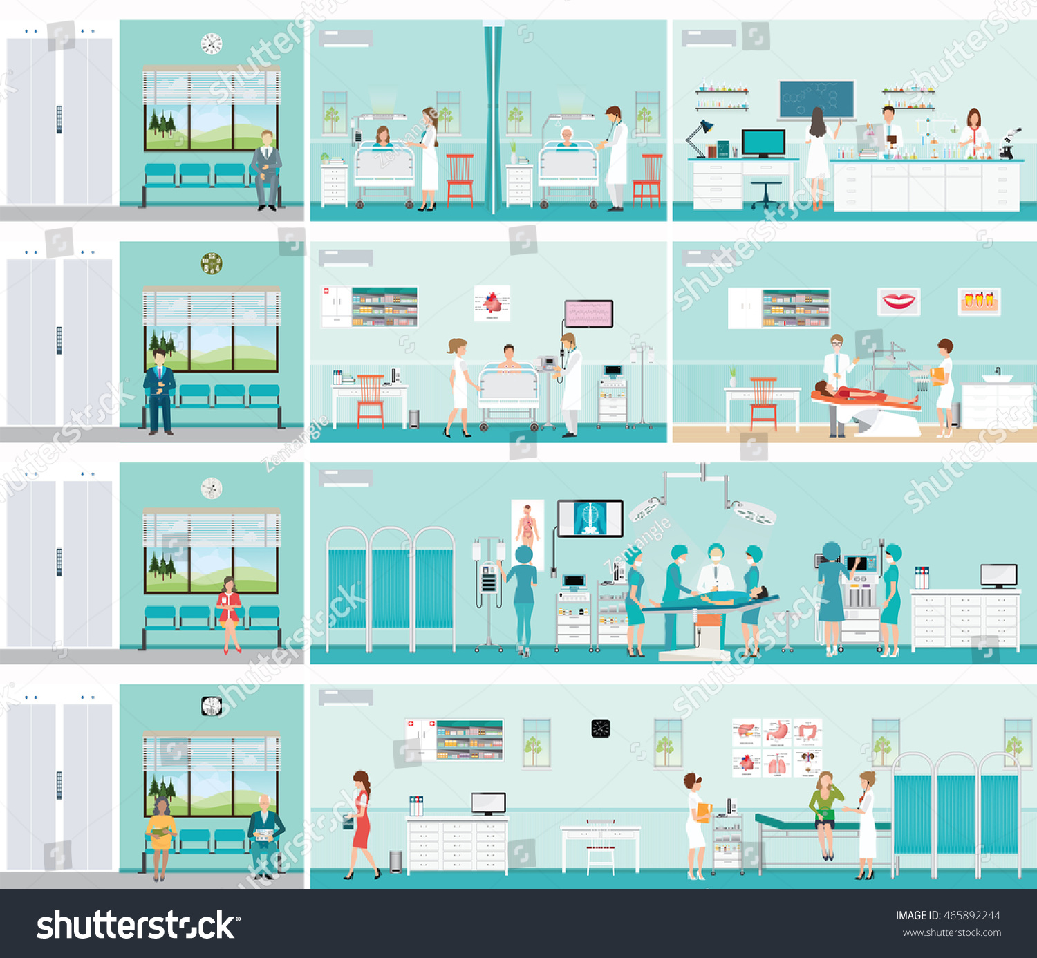 Patient And Doctor in hospital surgery operation room post-operation ward laboratory medical check up interior room cardiology center dental care characters health care vector illustration