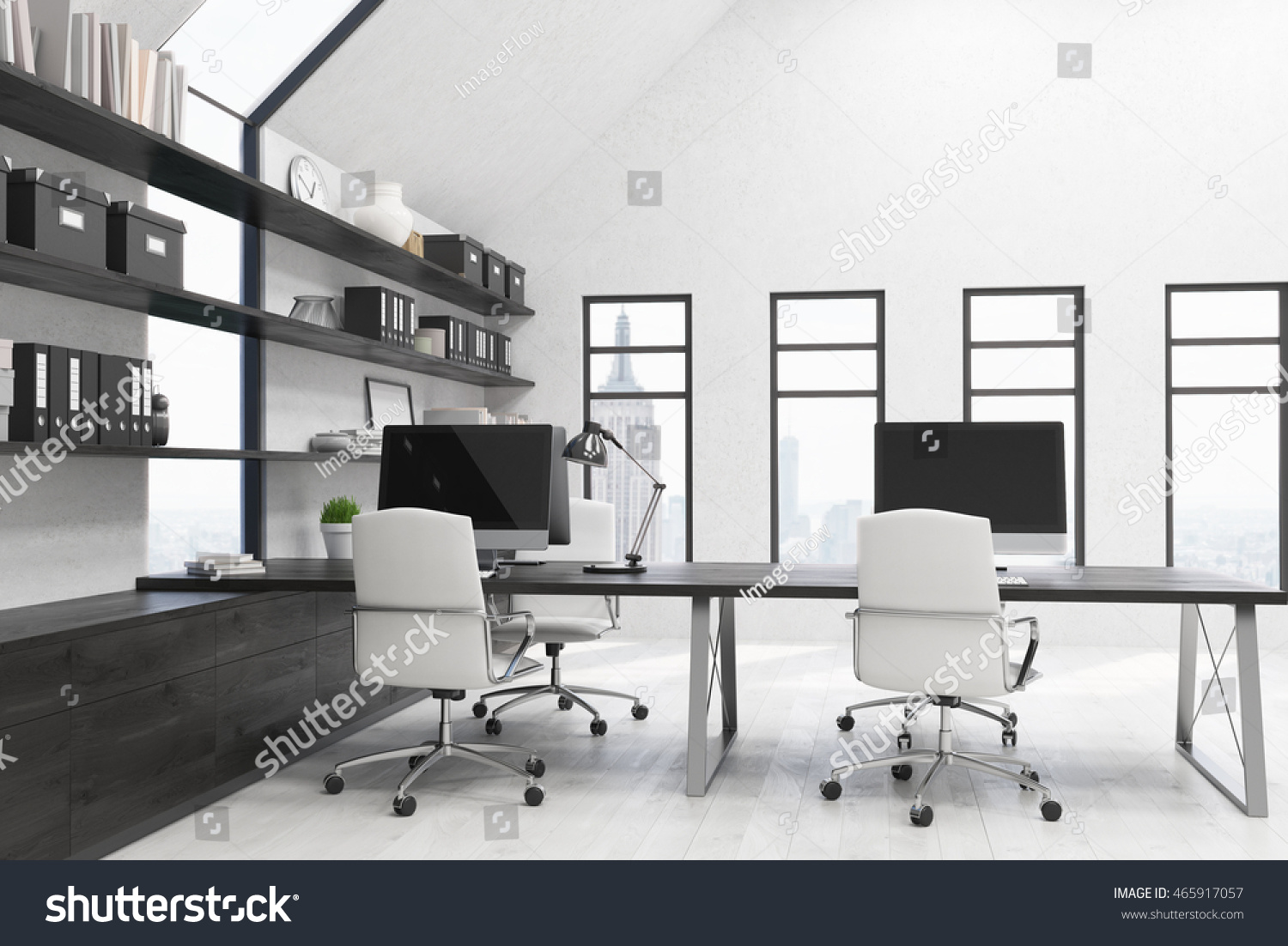 office workstations desks. New York City Office With Workstations On Desks, White Armchairs And Boxes Binders Desks
