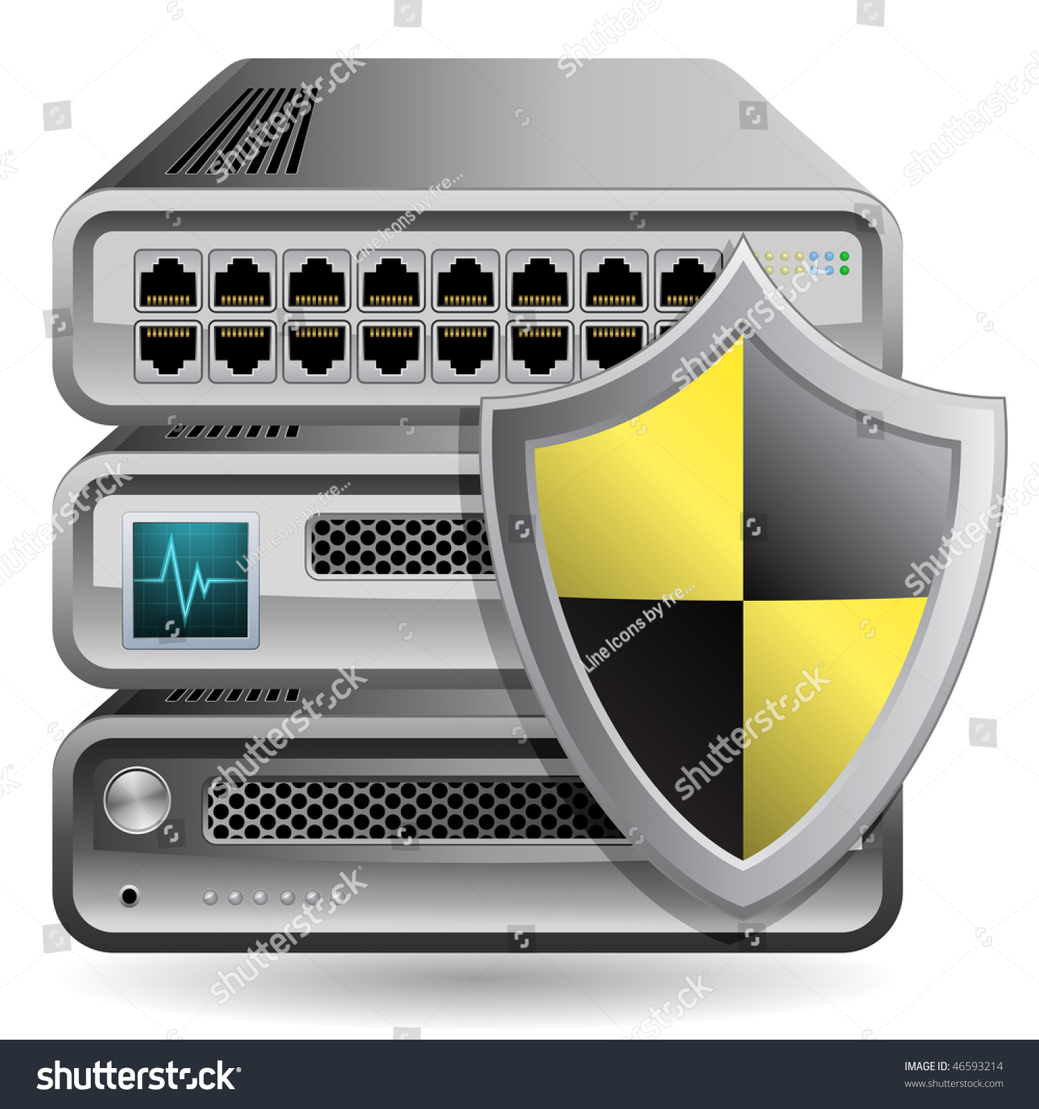 Network Equipment Icons : Network firewall router switch server stock vector