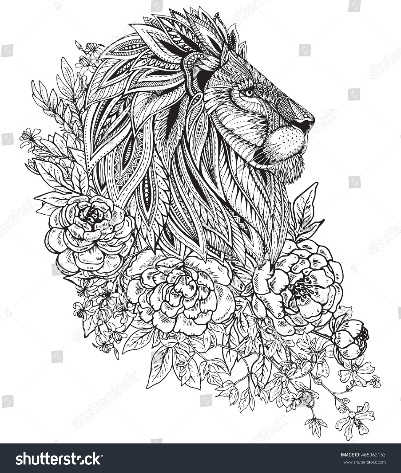 Hand Drawn Graphic Ornate Head Lion Stock Vector 465962153