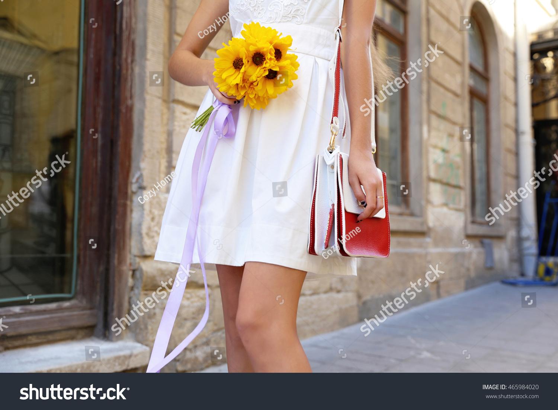 Smart Pretty Woman Snowwhite Short Dress Stock Photo Edit Now