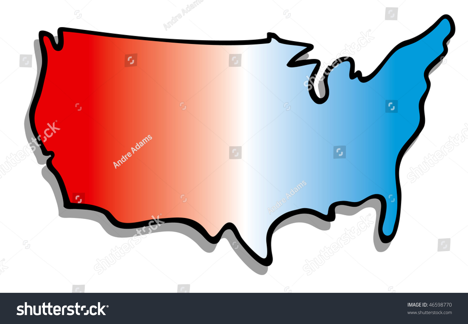 Cartoon Vector Ilration Map United States