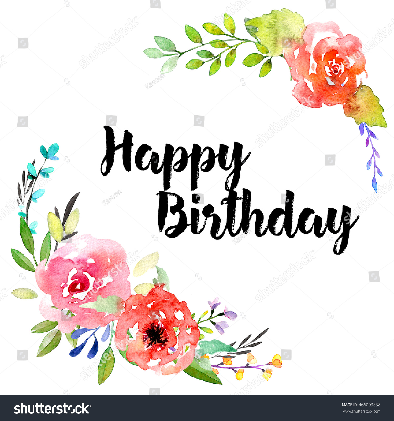 Happy Birthday Lettering Greeting Card Watercolor Stock Illustration