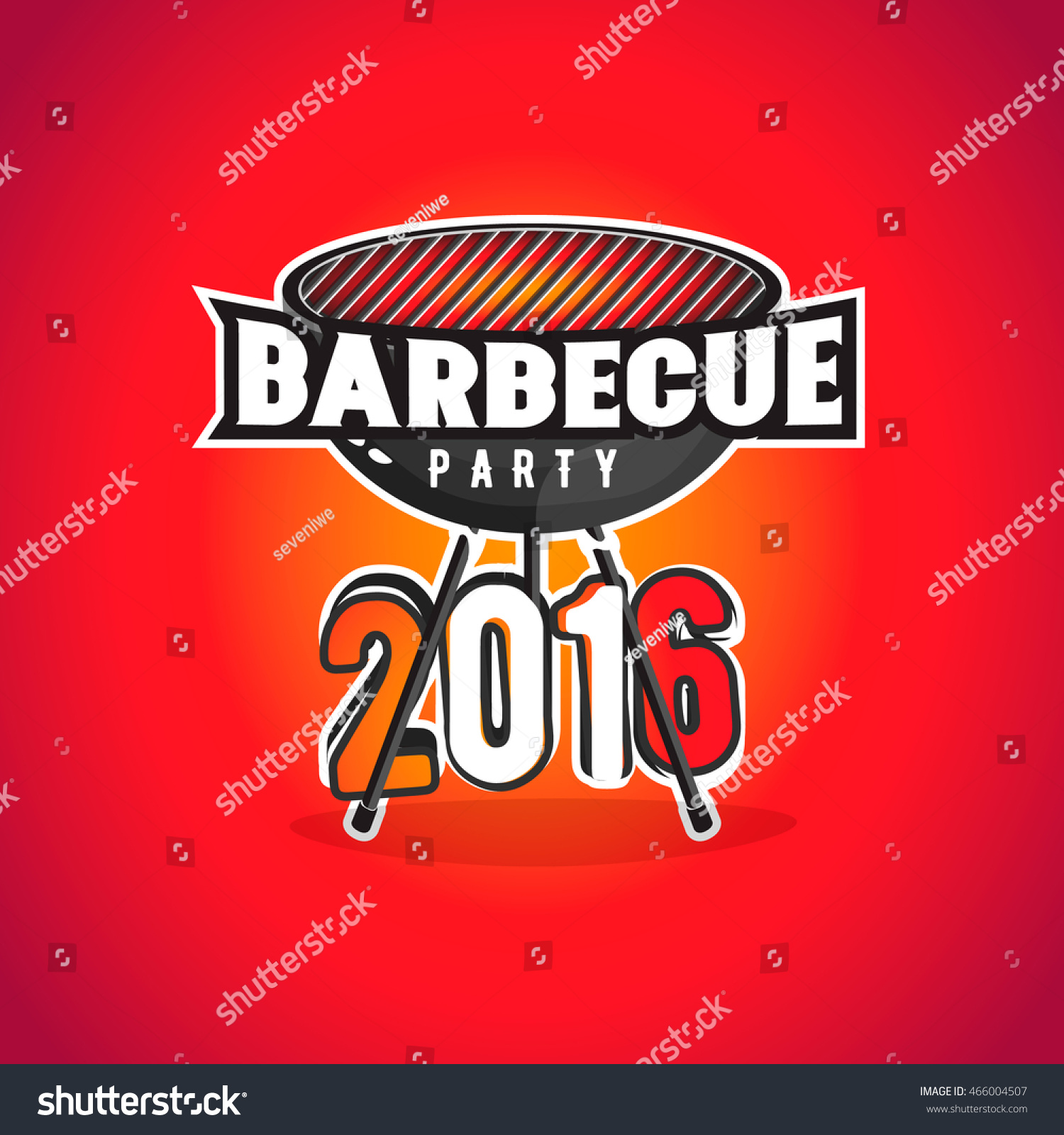 barbecue party poster flyer bbq party のベクター画像素材