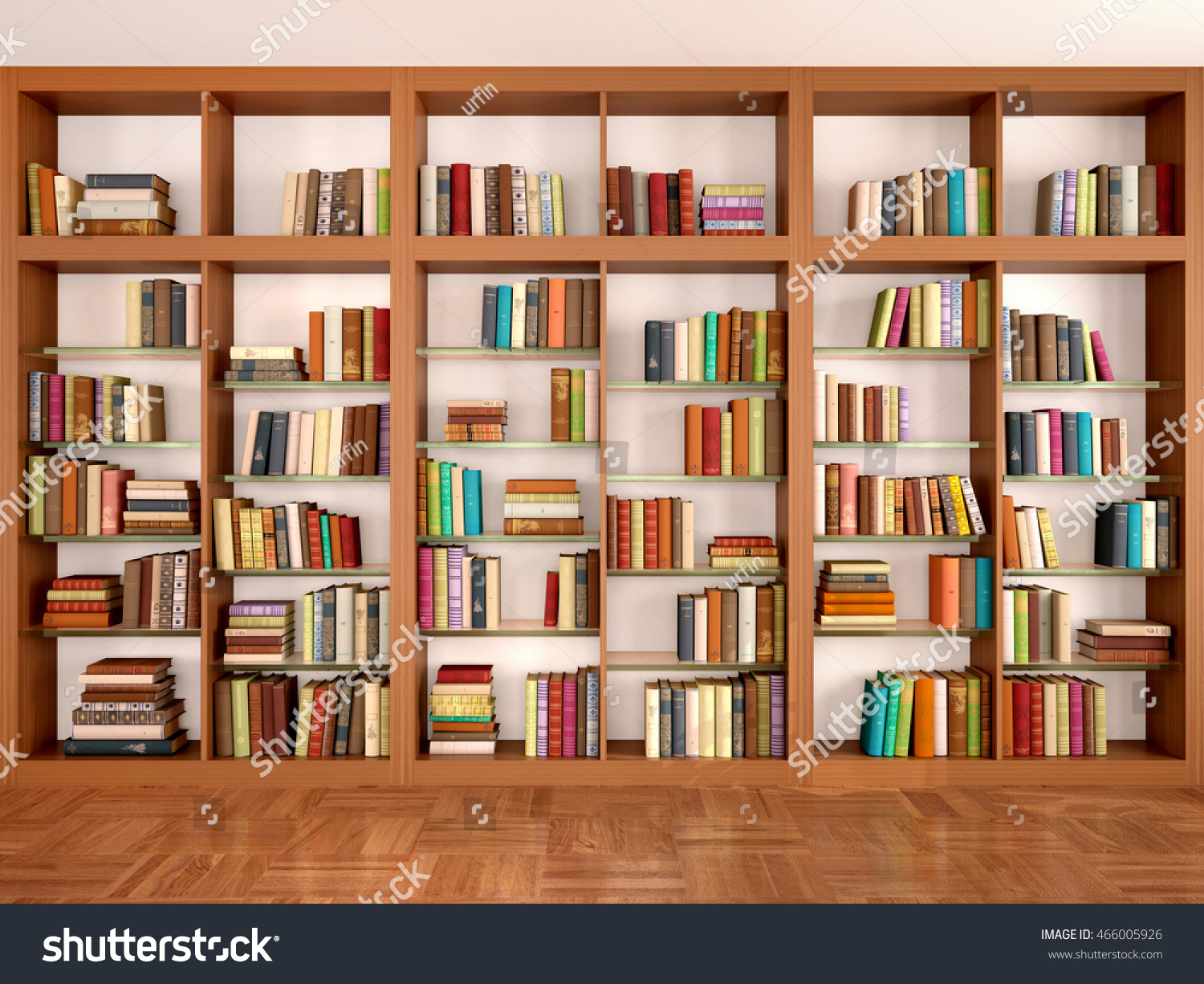 Wooden and glass shelves with different books