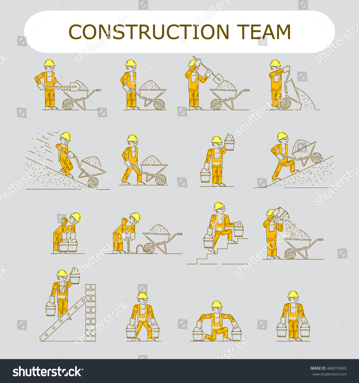 Worker Building Icon Shovel Electrician Wire Stock Vector 466010465 ...