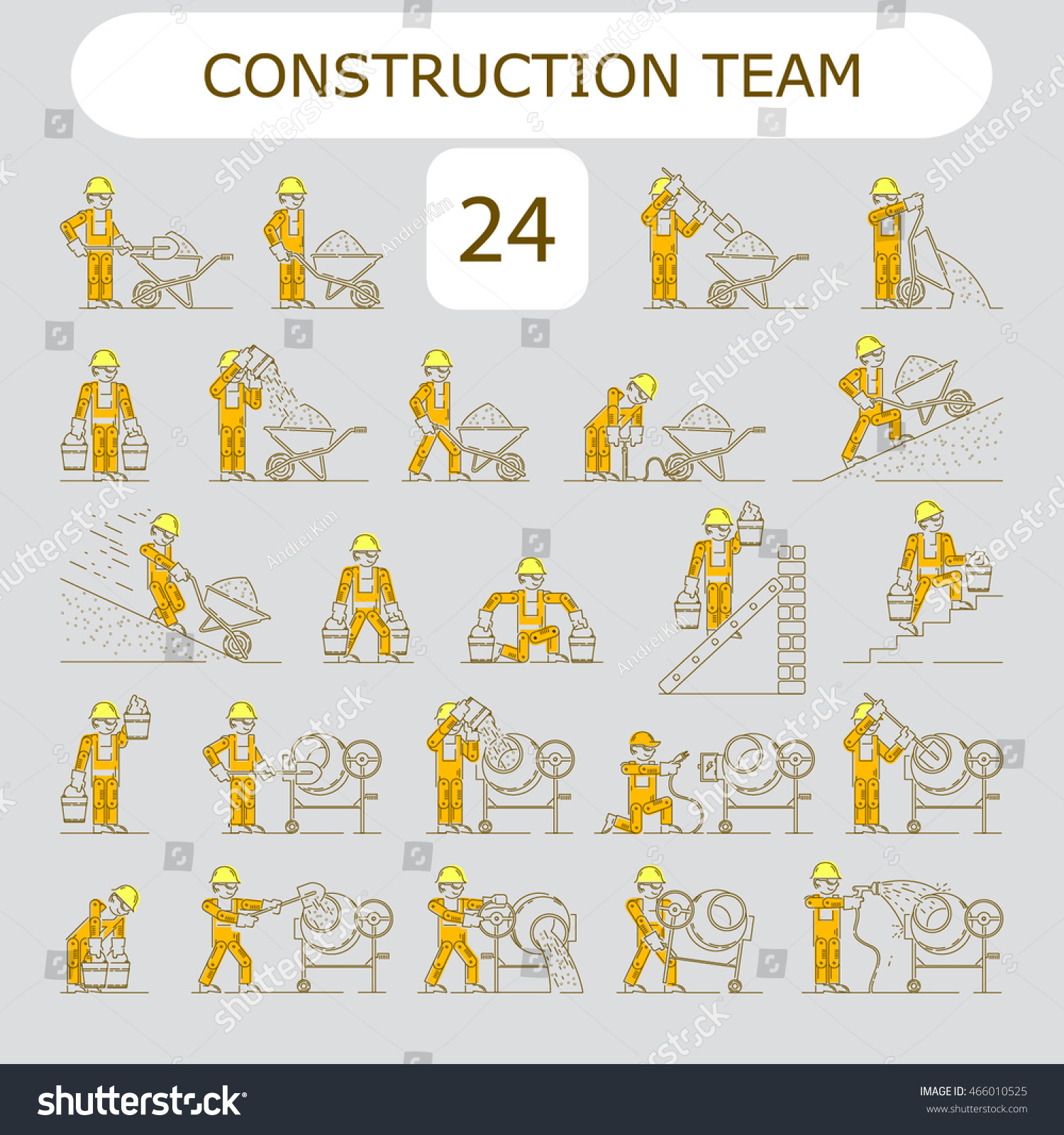 Worker Building Icon Shovel Electrician Wire Stock Vector 466010525 ...