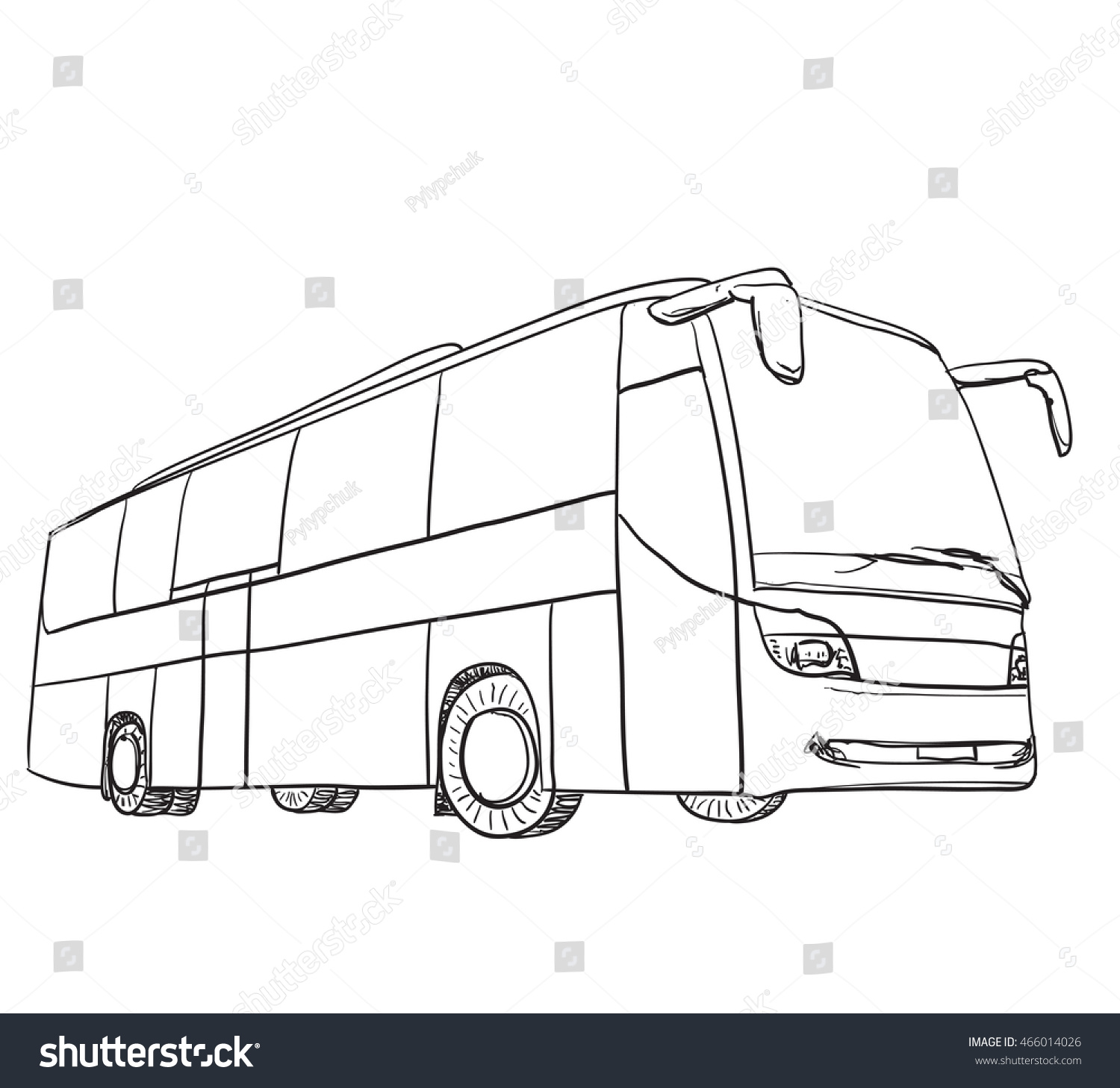 Line Drawing Bus : Hand drawn transport travel bus sketch stock vector