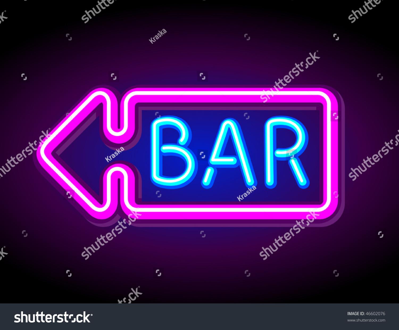 vector neon sign bar stock vector 46602076 shutterstock. Black Bedroom Furniture Sets. Home Design Ideas