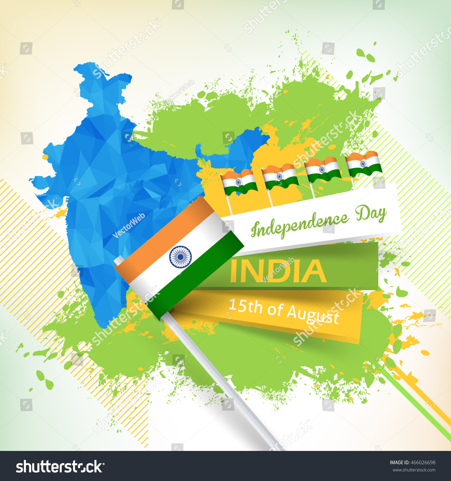Independence Day India Greeting Card Geometric Stock Vector Royalty