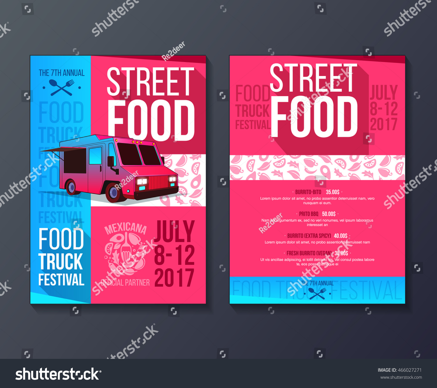 Creative Party Invitation On Food Truck Stock Vector 466027271 ...