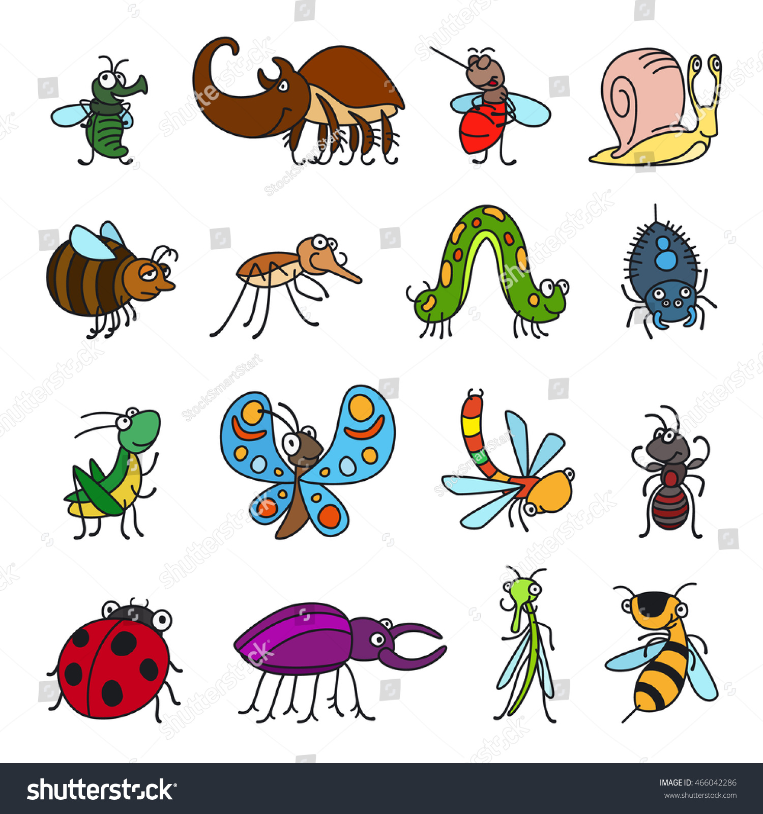 vector funny insects cute bugs on stock vector 466042286