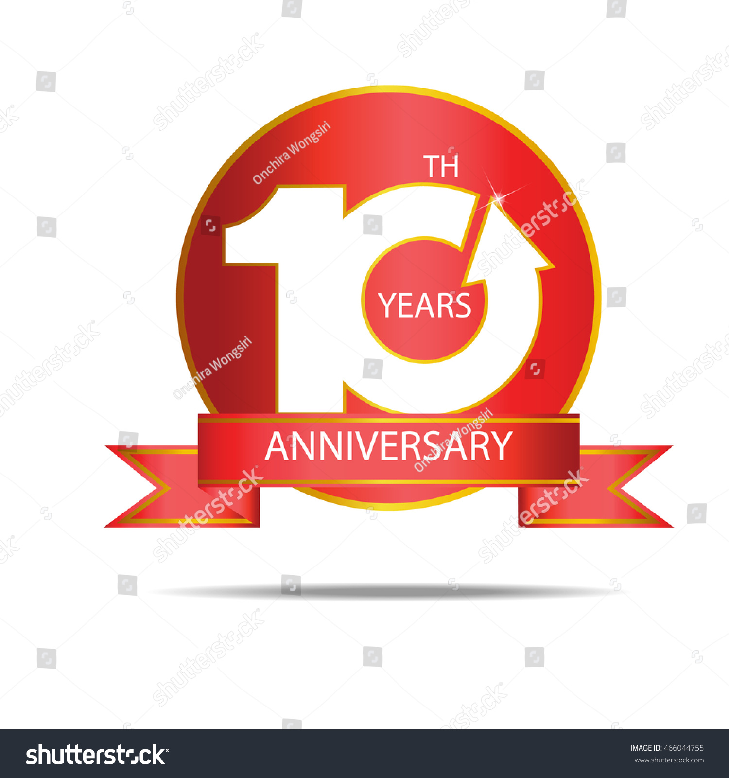 10th Anniversary Logo Template On Circle Stock Vector Royalty Free