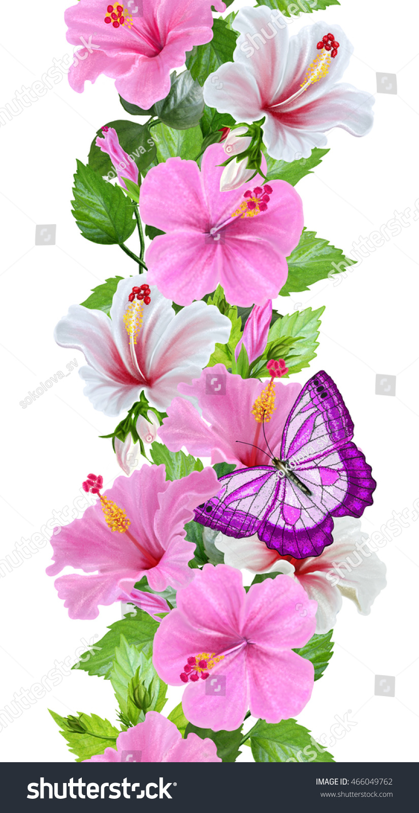 Pattern seamless vertical floral border flower stock illustration pattern seamless vertical floral border flower garland of pink and white hibiscus izmirmasajfo Gallery