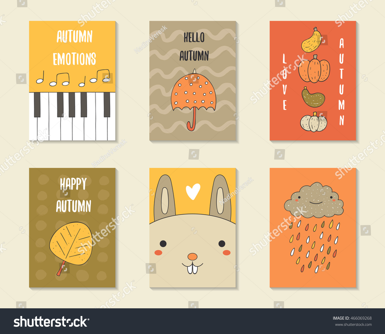 cute doodle autumn cards brochures invitations stock vector