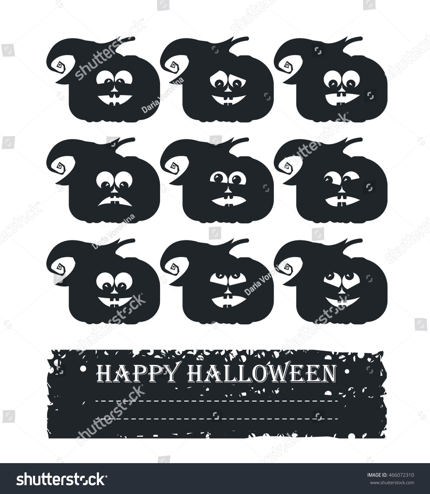 Stylish Halloween Card Doodle Pumpkin Face Stock Vector 466072310 ...