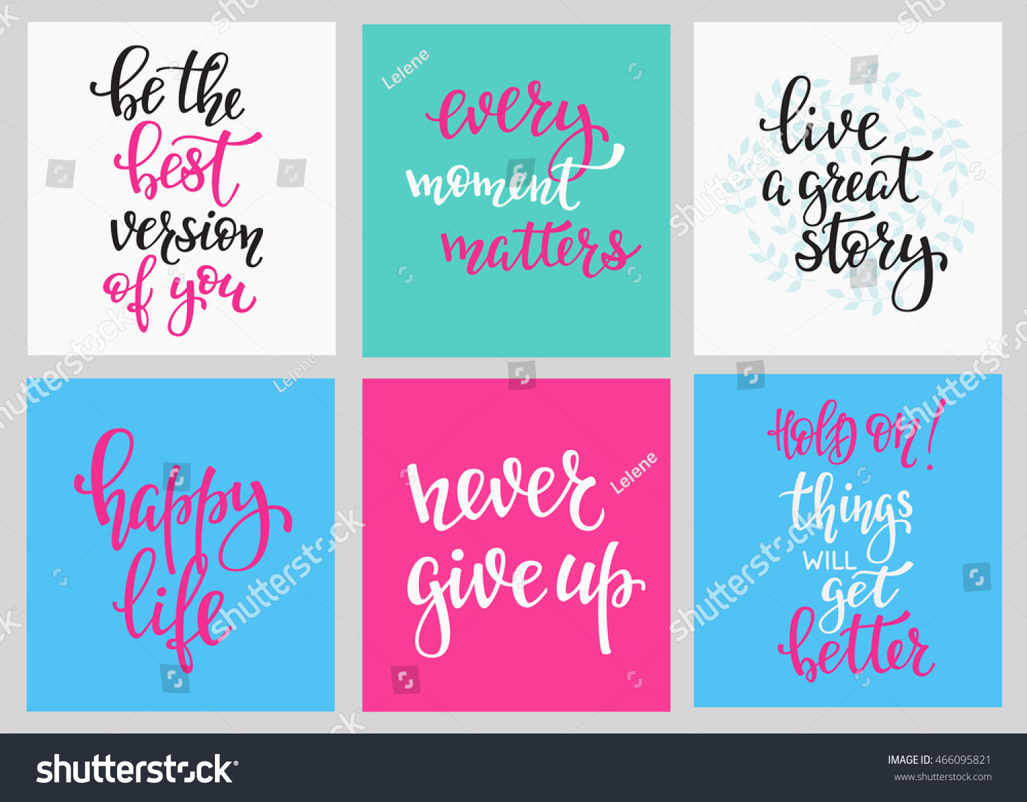 Lettering vector postcard quotes set motivational stock