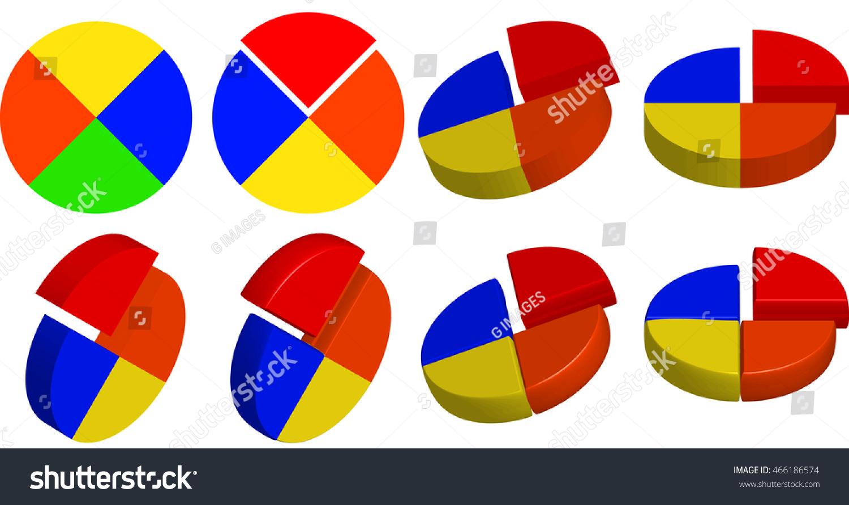 2 d 3 d pie chart elements presentations stock illustration