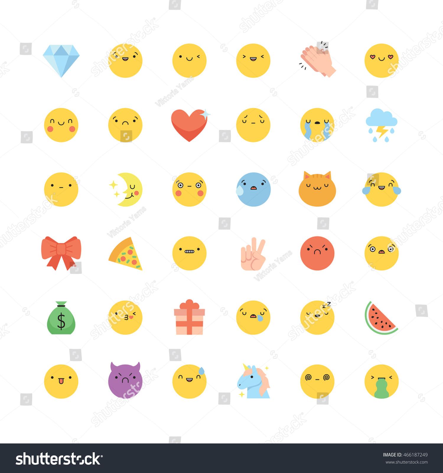Emoji Icon Vector Set Flat Cute Stock Vector Royalty Free