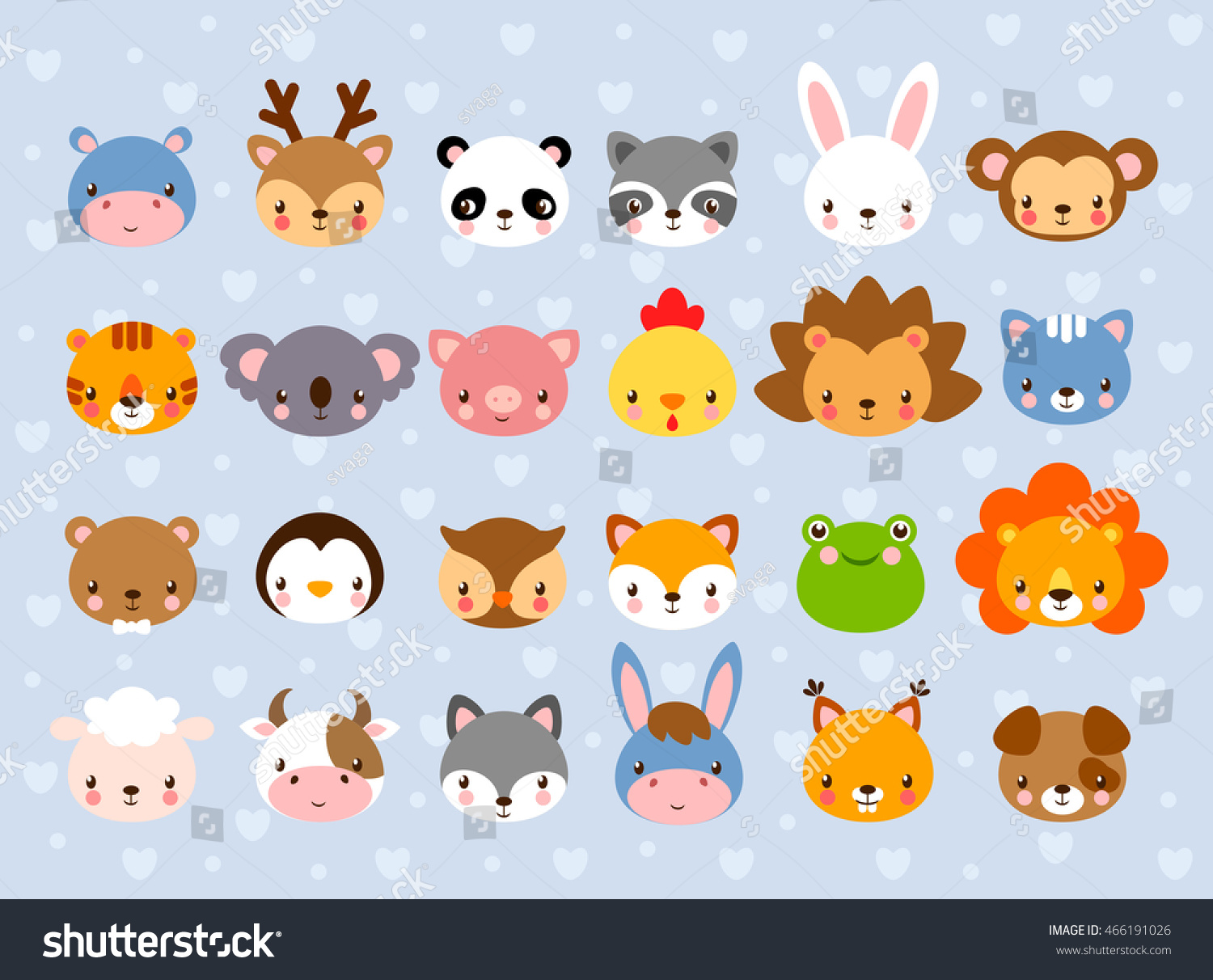 Big vector set animal faces collection 466191026 big vector set with animal faces collection of cute baby animals in cartoon style on voltagebd Images