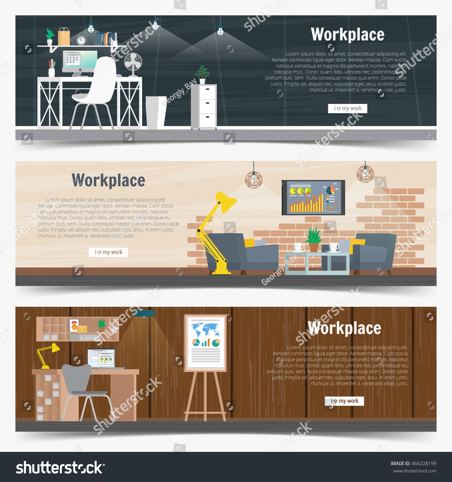 Web Banner Set Office Workplace Interior Design Graphic Business Objects Elements And Equipment