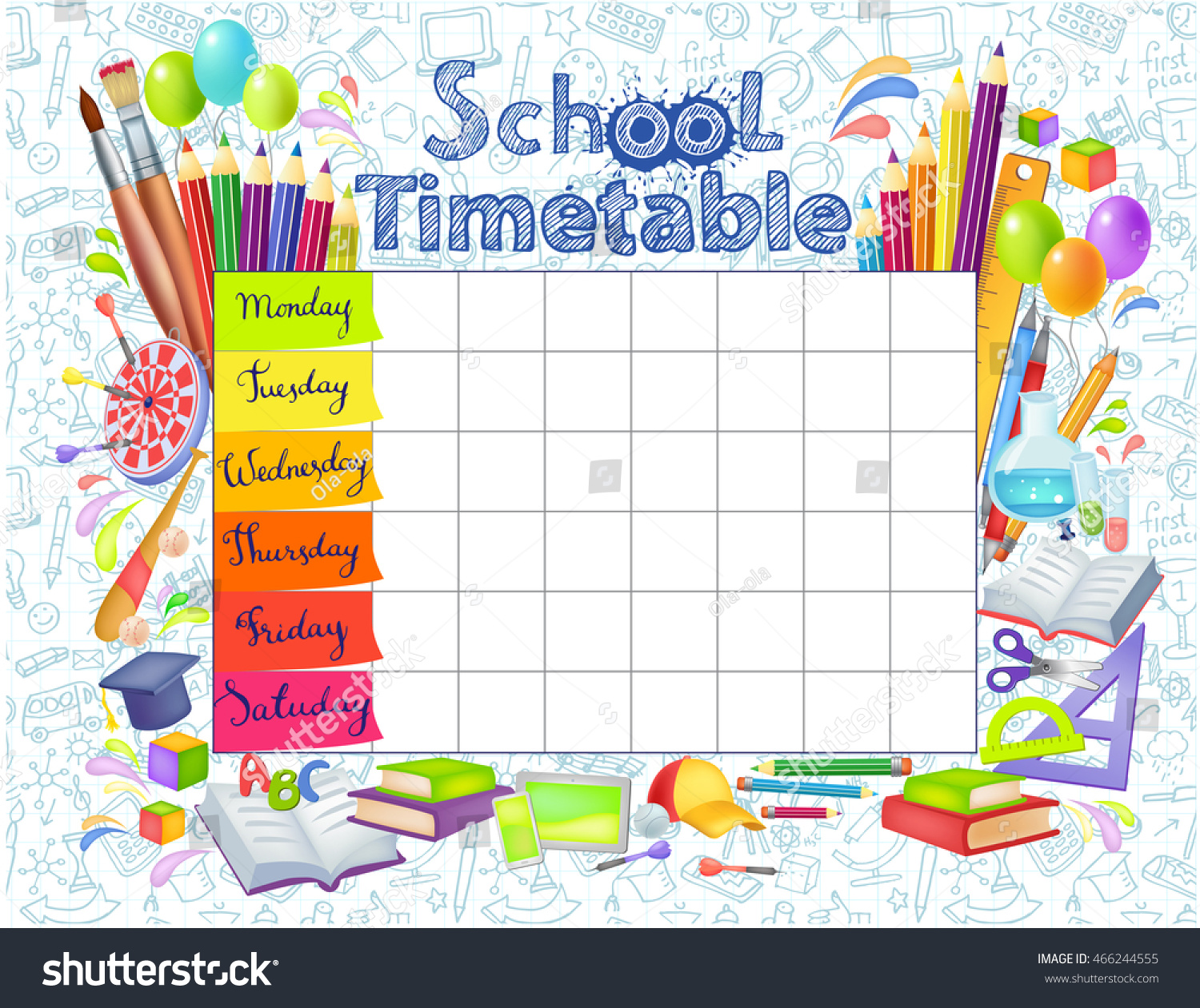 Template School Timetable Students Pupils Days Vector – School Time Table Designs