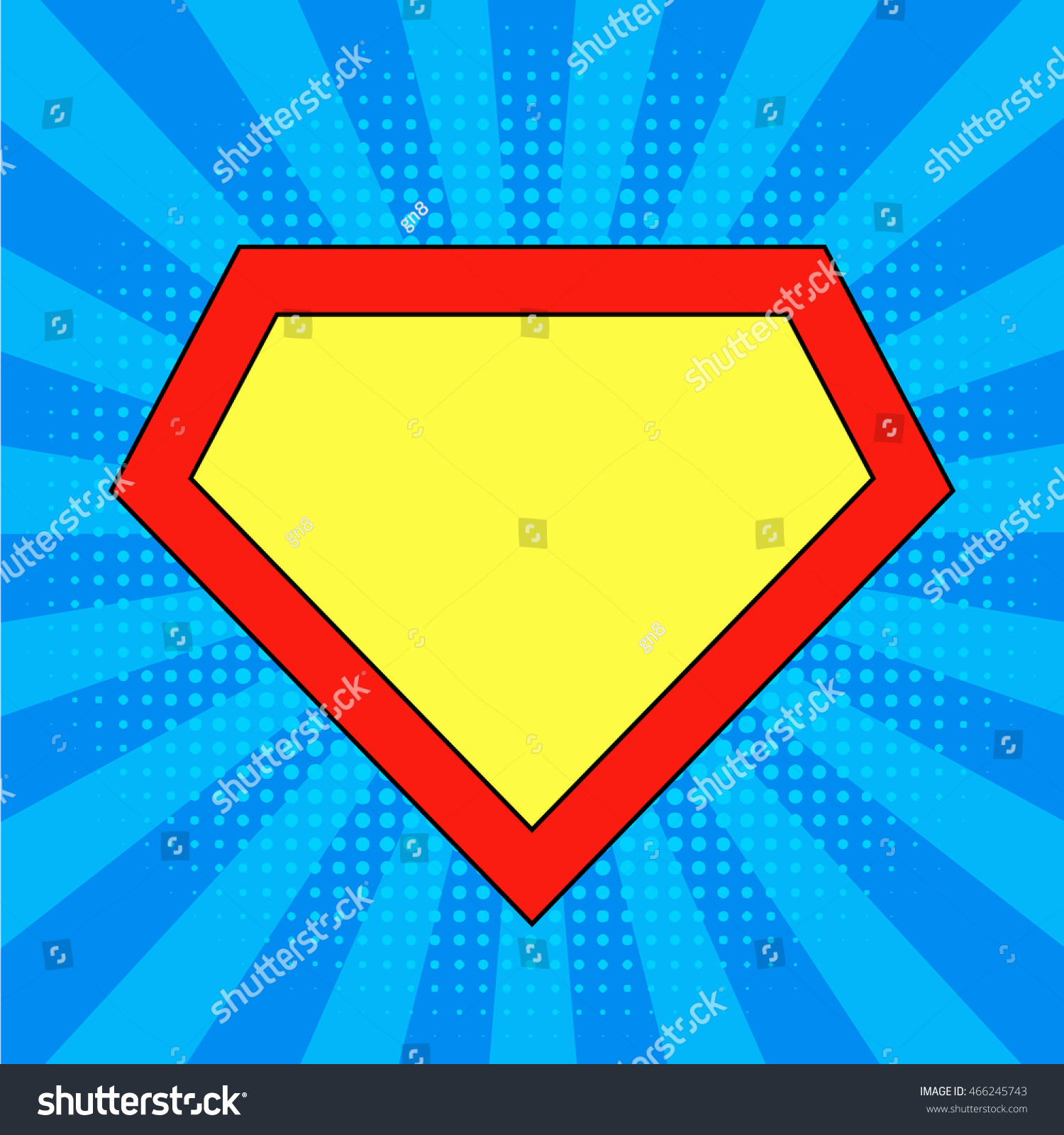superhero logo template bright blue pop stock vector 466245743 shutterstock. Black Bedroom Furniture Sets. Home Design Ideas