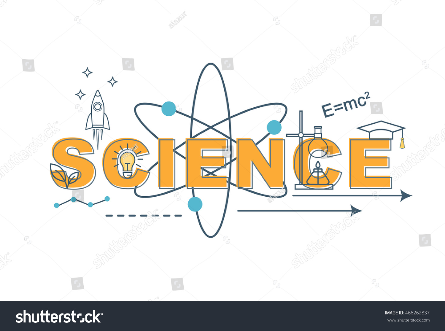 science concept thin line flat design stock vector royalty free