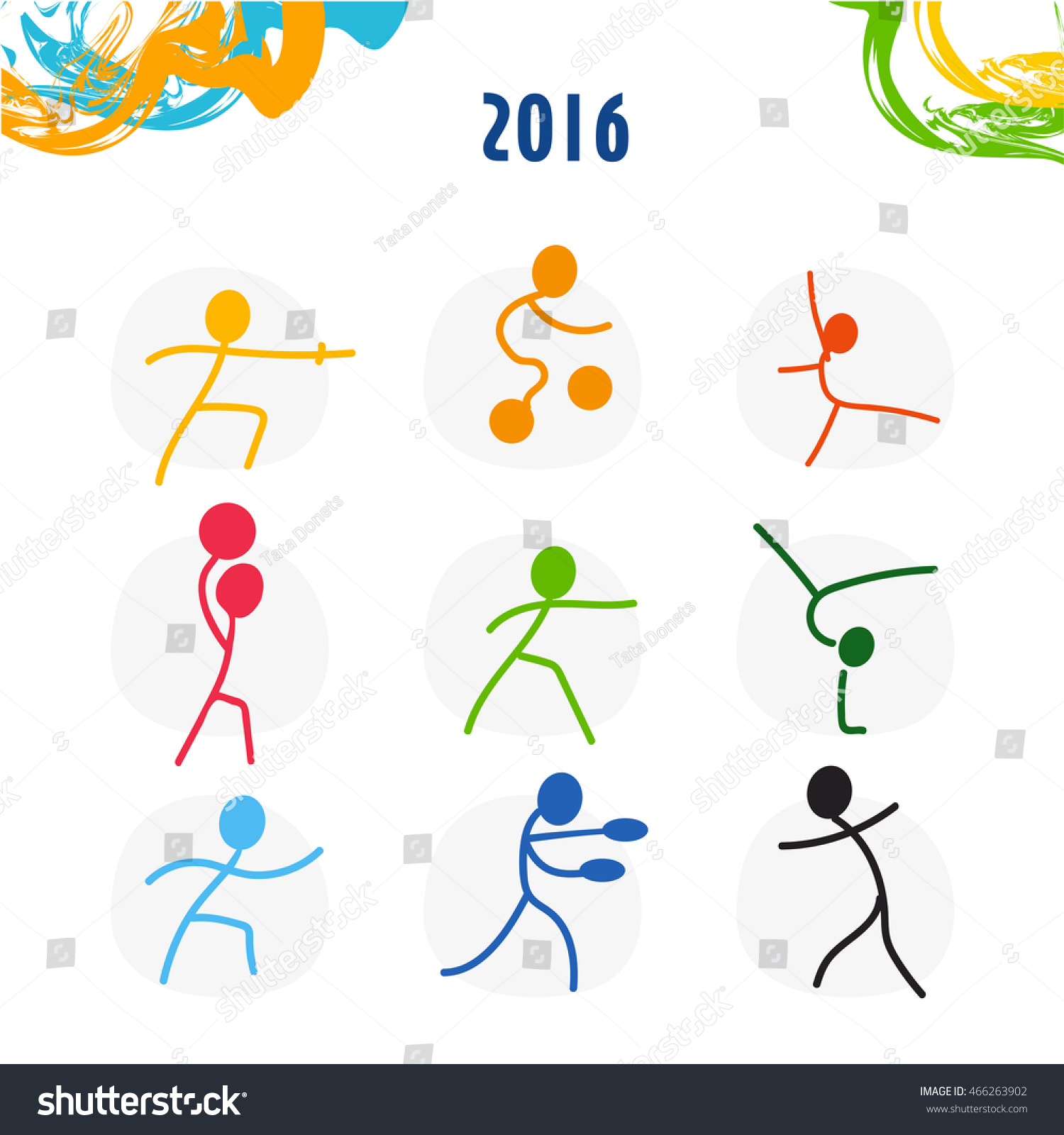 Summer olympic games sport icons set stock vector 466263902 summer olympic games sport icons set vector illustrations of sportsmen for olympiad 2016 in rio buycottarizona