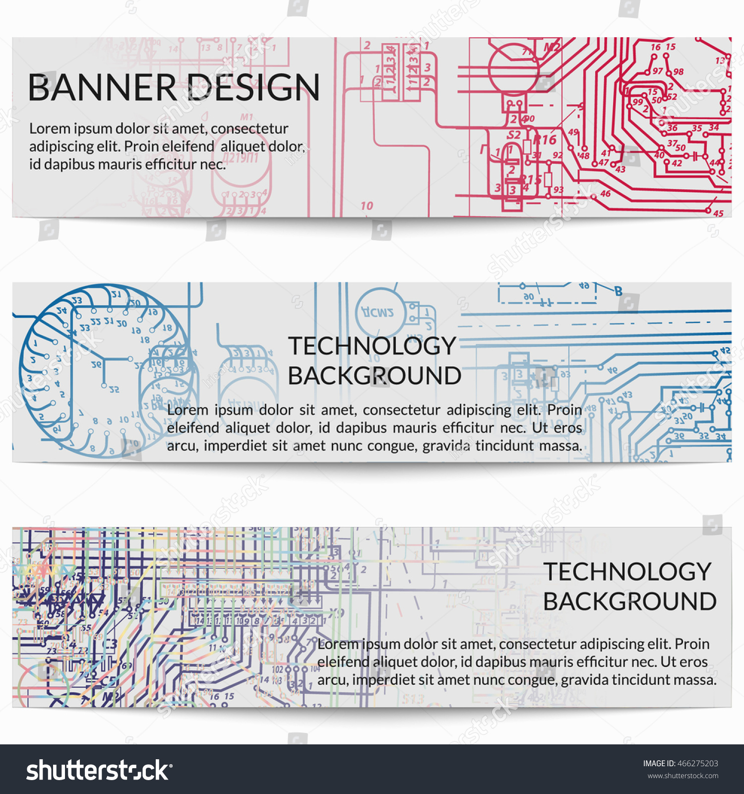 Set Horizontal Banners Electric Circuit Diagrams Stock Vector ...