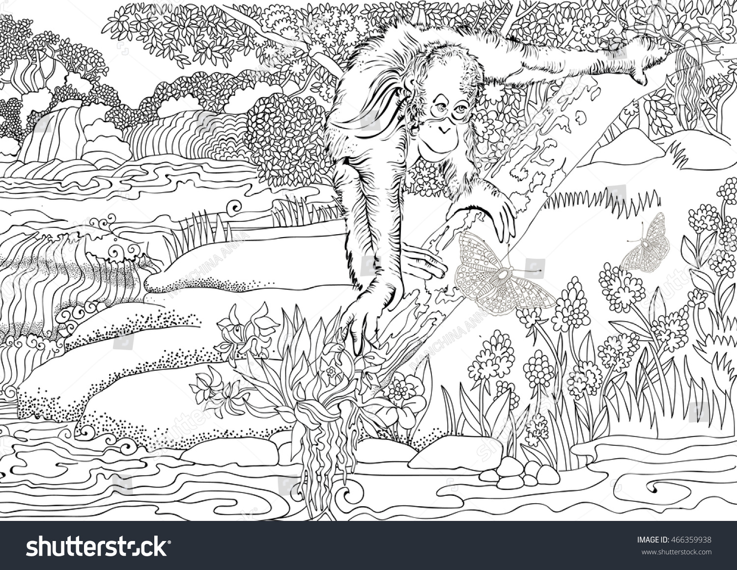 Coloring page . Jungle . Africa . Monkey on a tree . | EZ Canvas
