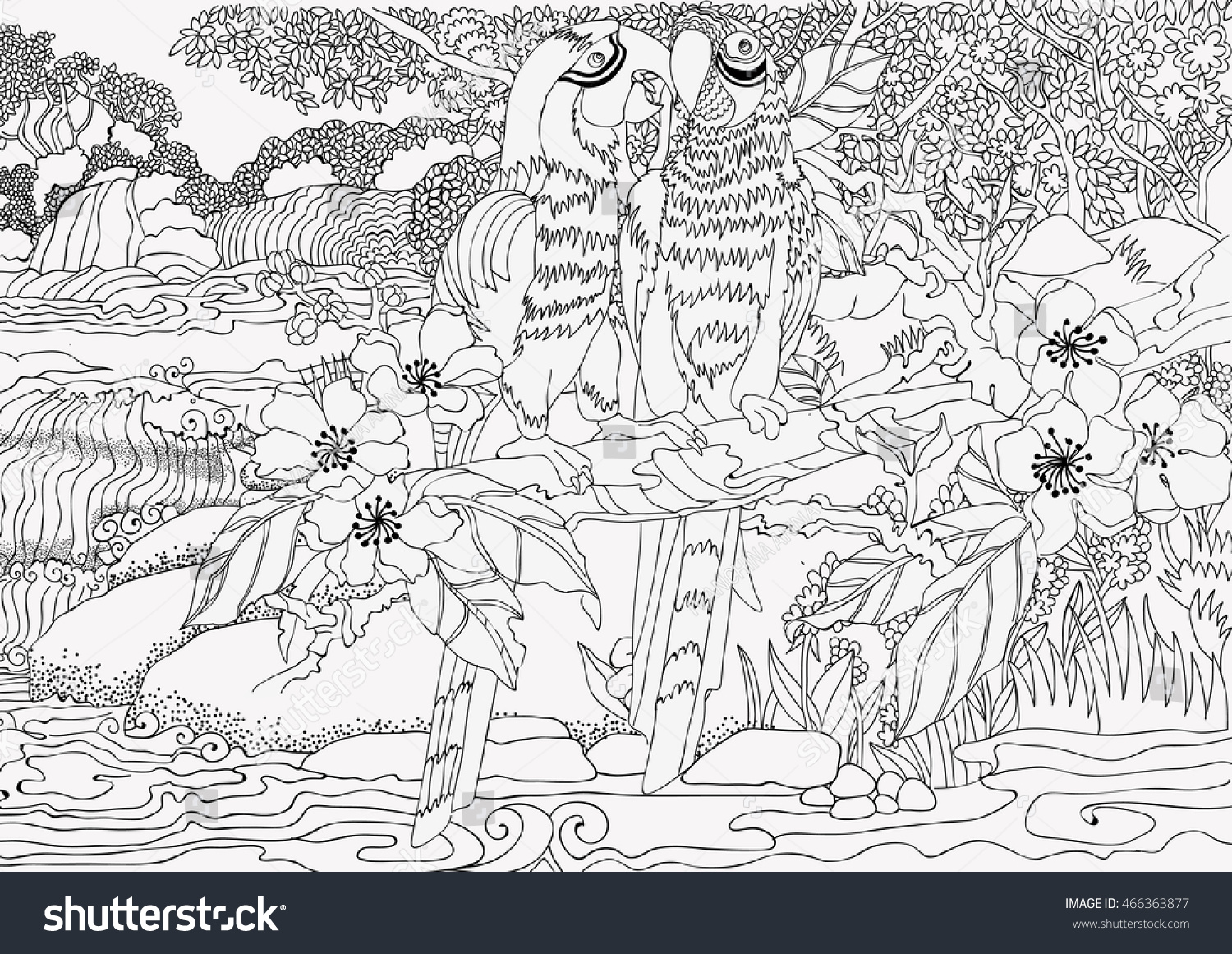 coloring pages loving parrots on background stock vector 466363877