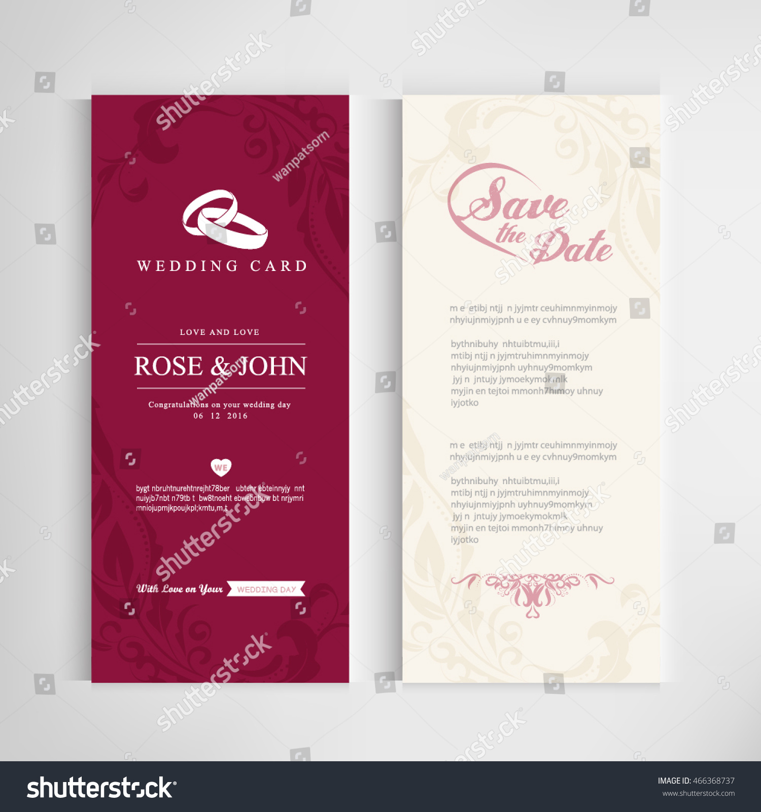 Vintage Wedding Card Invitations Templates Vector Stock Vector ...