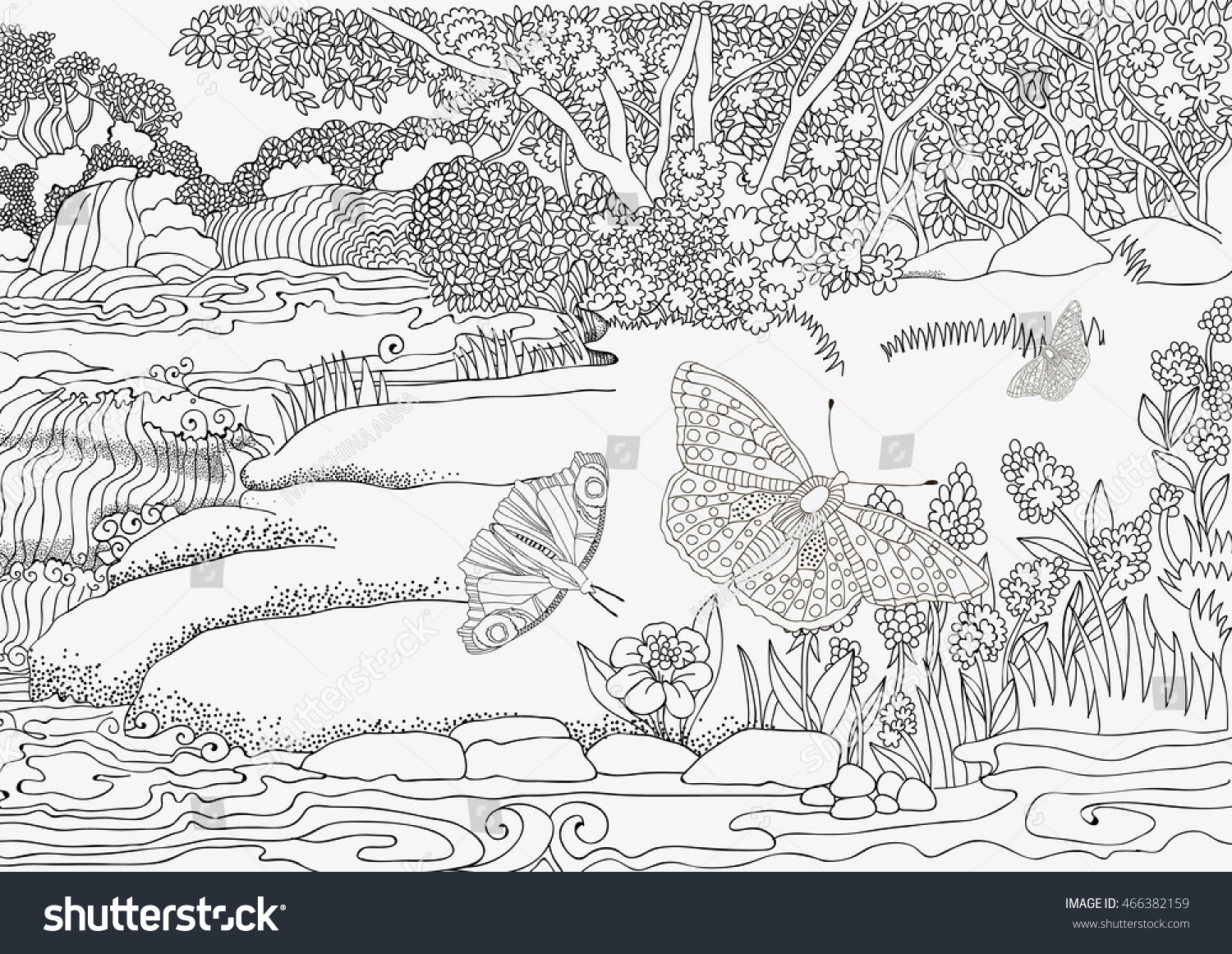 Beautiful Landscape Coloring Pages For Adults - Worksheet & Coloring ...