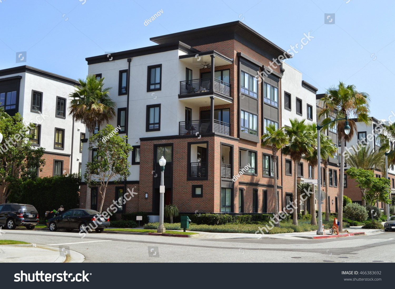 Beautiful modern apartment buildings playa vista stock for Beautiful modern buildings