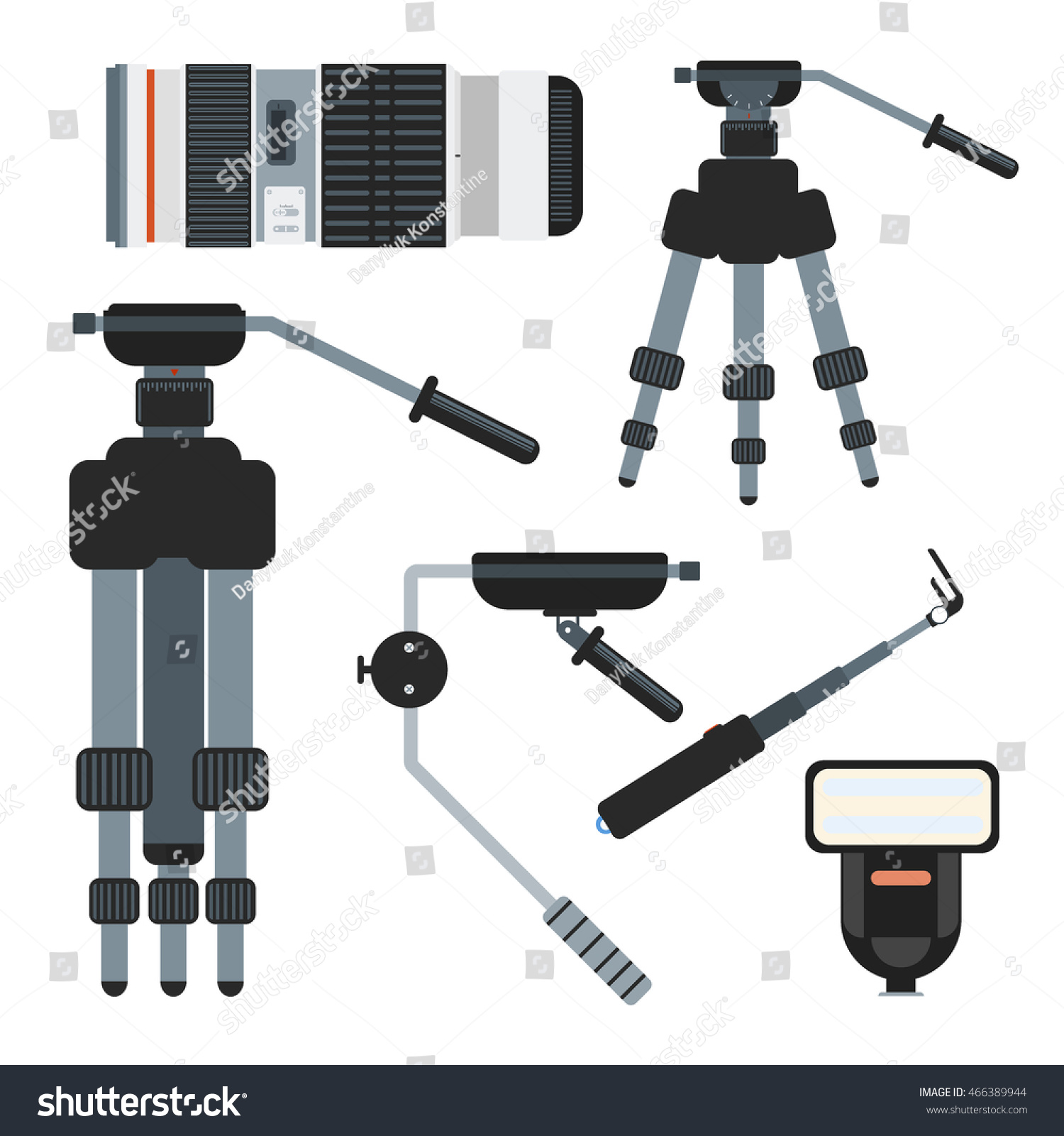 Professional Photographer Camera On Tripod Photo Stock Vector ... for Photography Lighting Equipment For Beginners  70ref