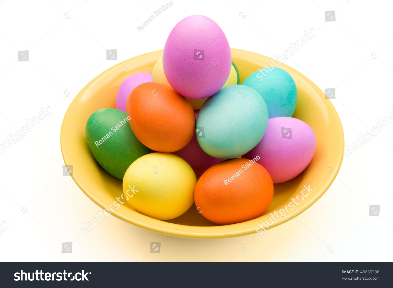 Easter Eggs On Yellow Plate. Isolated On White